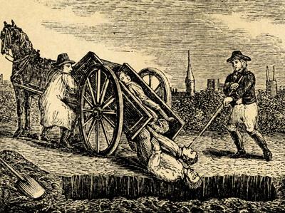 Ein Pferdekarren mit Pestleichen